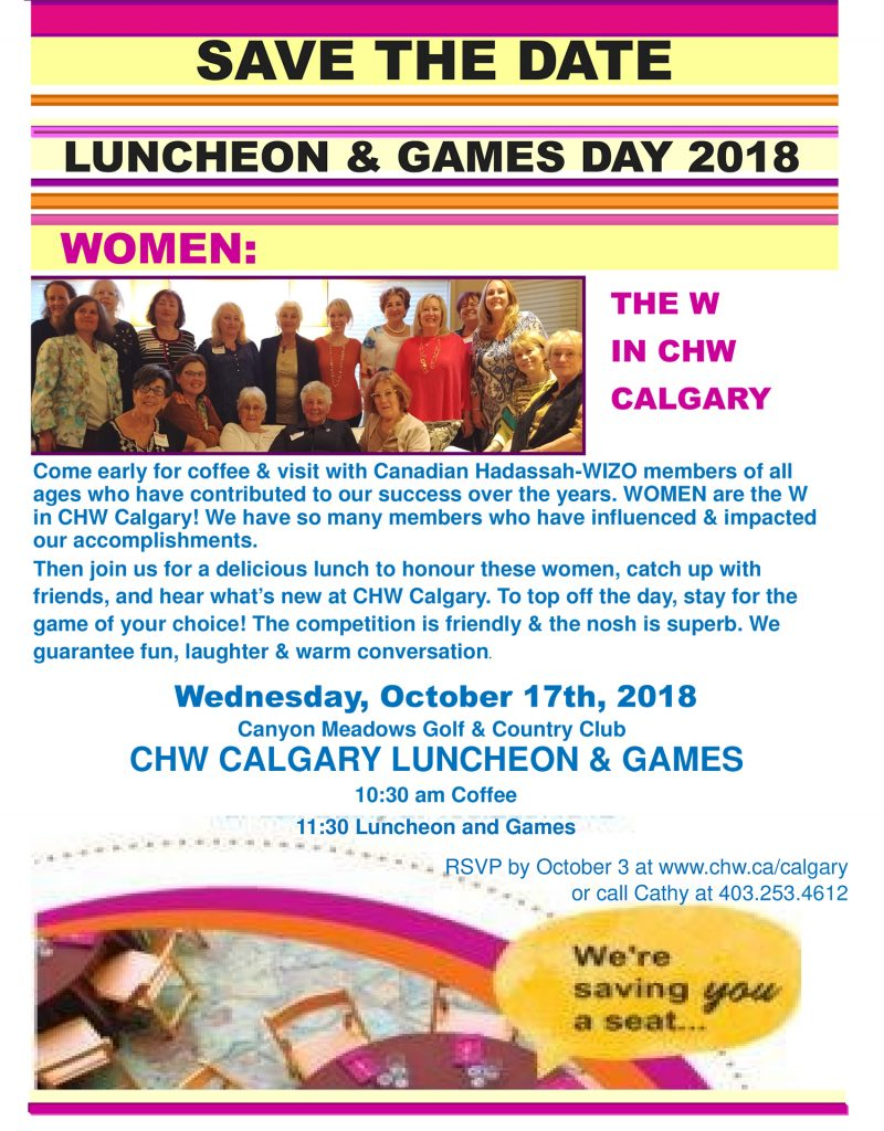 CHW Calgary: Luncheon and Games Day @  Canyon Meadows Golf & Country Club | Calgary | Alberta | Canada