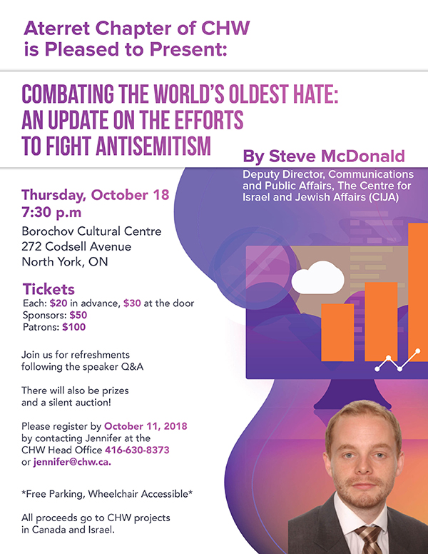 CHW Toronto Centre Aterret ChapterPresents: A revealing update on combating the world's oldest hate: An update on the efforts to fight Antisemitism @ Borochov Cultural Centre | Toronto | Ontario | Canada