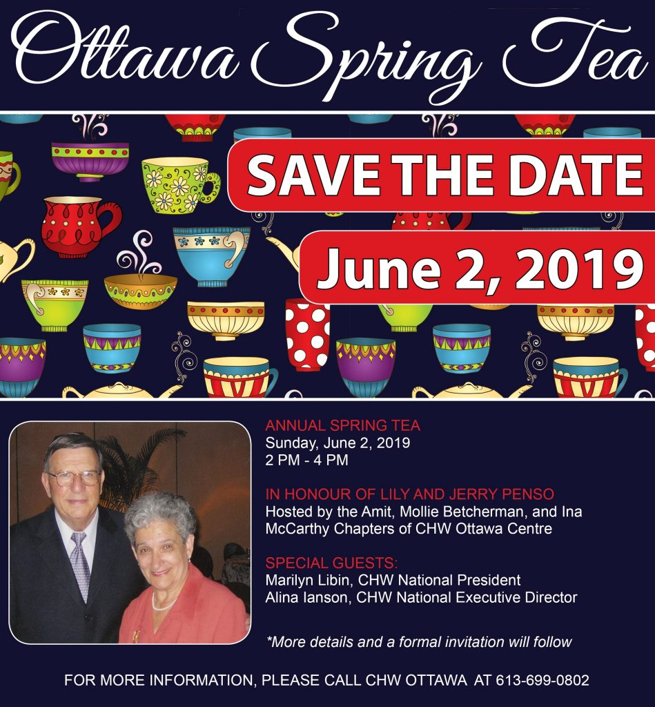 CHW Ottawa- Annual Spring Tea 2019 @ The Home of Roz and Steven Fremeth