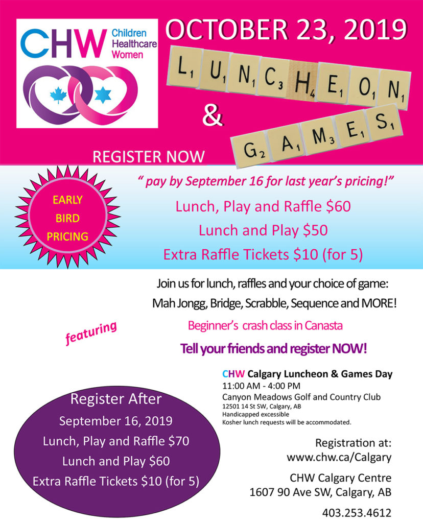 CHW Calgary Centre Luncheon and Games Day 2019- SOLD OUT @ Canyon Meadows Golf & Country Club