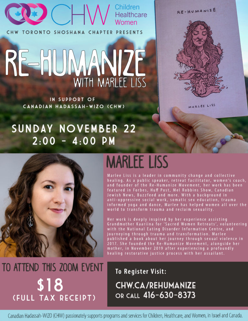 """CHW Toronto Shoshana Chapter Presents: """"Re-Humanize"""" with Marlee Liss"""