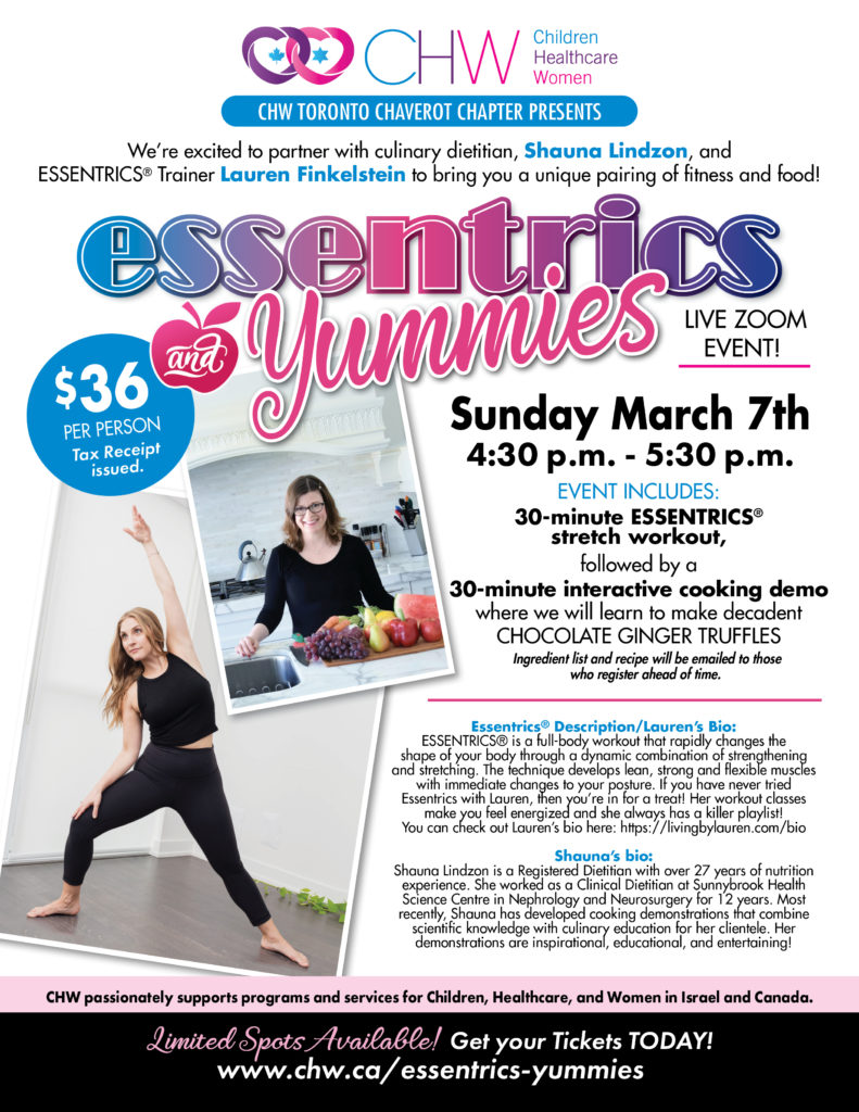 CHW Toronto Chaverot Chapter Presents: Essentrics and Yummies- March 7, 2021
